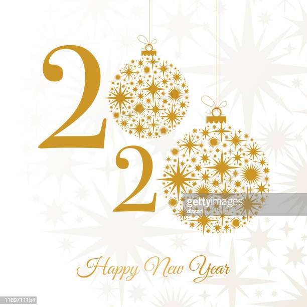 2020 - happy new year greeting card. winter holiday design template. - glamour stock illustrations