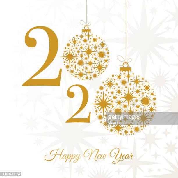 ilustraciones, imágenes clip art, dibujos animados e iconos de stock de 2020 - feliz año nuevo tarjeta de felicitación. plantilla de diseño de vacaciones de invierno. - glamour