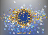 Happy new year greeting card with gold clock with golden dust and bokeh. Vector illustration