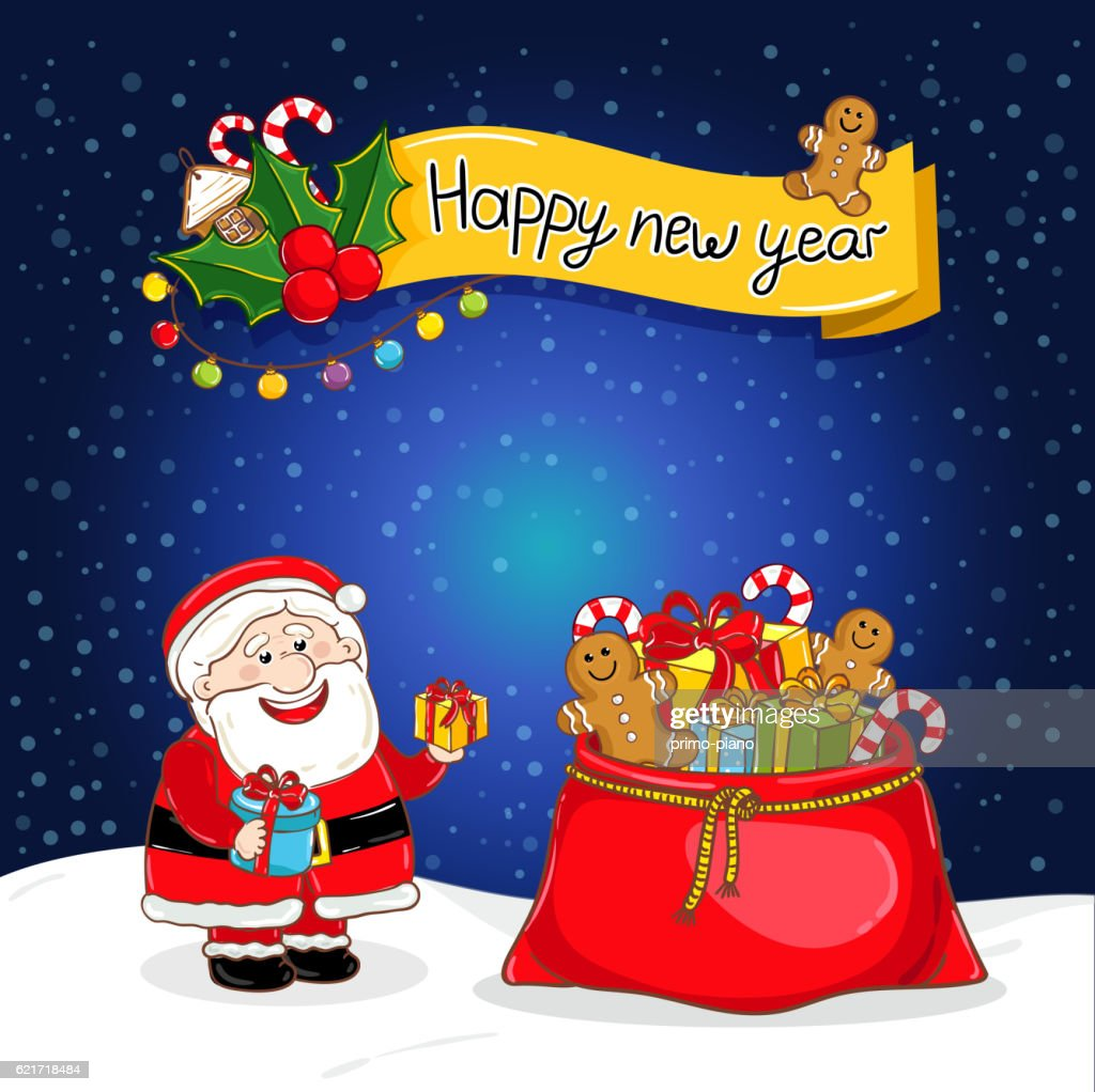 Happy New Year Greeting Card With Santa Claus Vector Art Getty Images