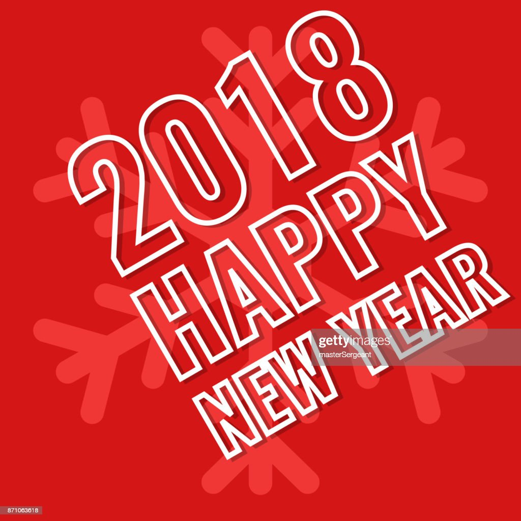 2018 Happy New Year, greeting card with snowflake background