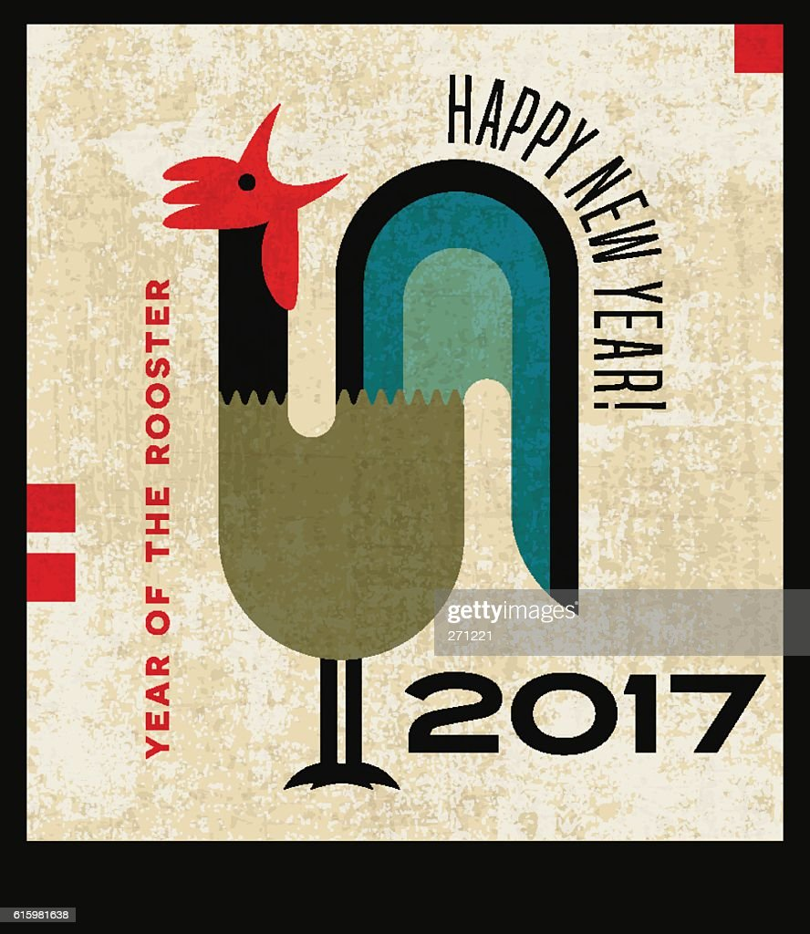 Happy new year greeting card with stylized crowing rooster