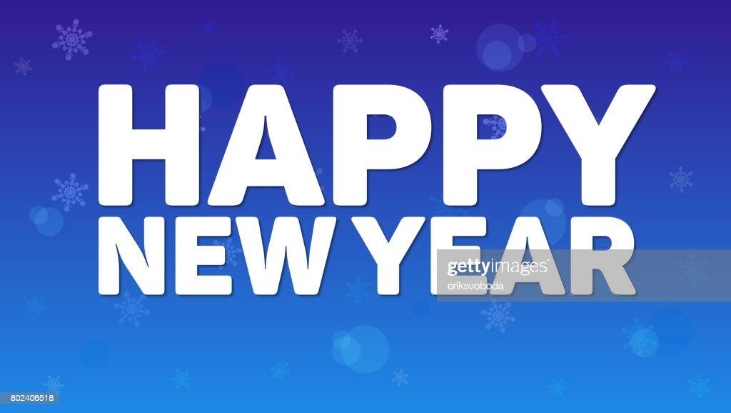 Glückliches Neujahr Gruß Horizontale Plakat An Nacht Himmel ...
