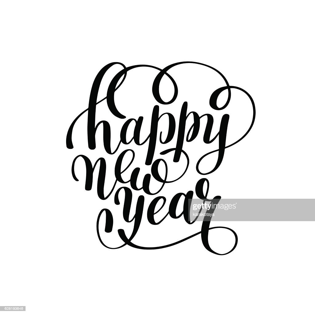 Happy New Year hand lettering congratulate inscription, Christma