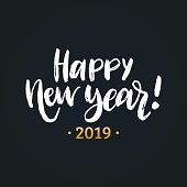 Happy New Year, hand lettering. Vector illustration. Decorative design on black background for greeting card, poster.