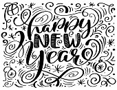 Happy New Year hand-lettering text. Handmade vector calligraphy Scandinavian style