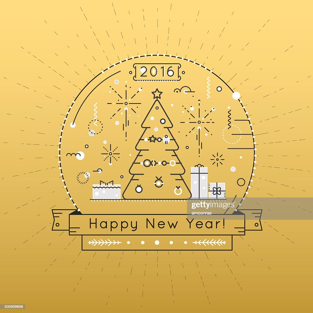 Happy New Year holiday concept vector illustration in line style