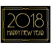 happy new year in gold art deco frame