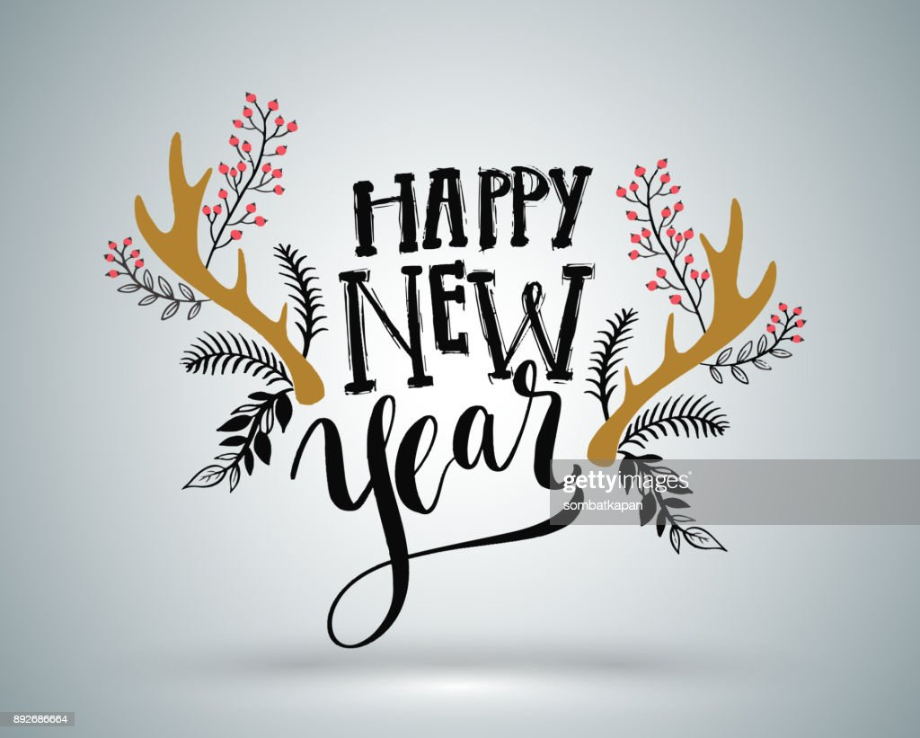 Happy New Year lettering element for New Year