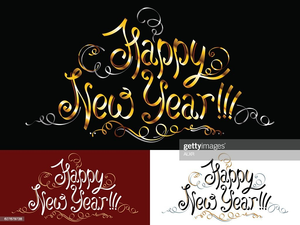 Happy New Year Lettering Inscription Title Phrase Greeting Words