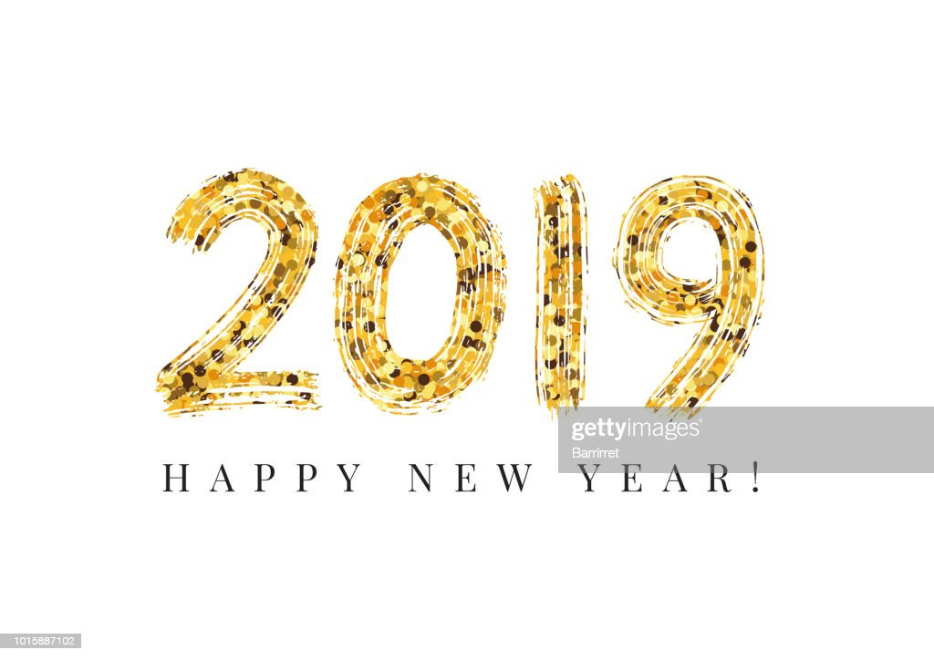 2019 Happy New Year. Numeral hand lettering. Dry brush texture effect. Merry Christmas. Graduation. Vector Illustration