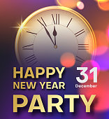 Happy New Year party color poster or invitation with clock.