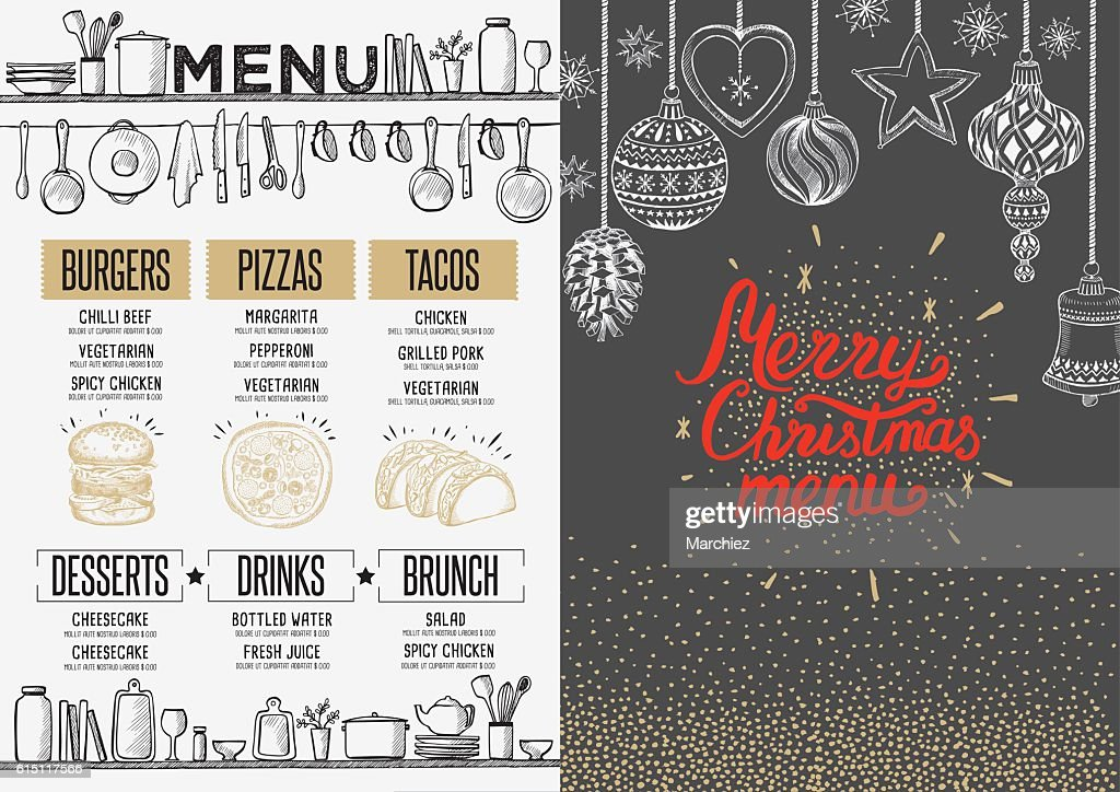 Happy new year party invitation restaurant. Christmas food menu.