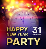 Happy New Year party shiny poster or invitation with clock.