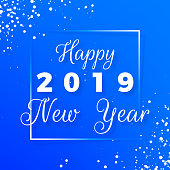Happy New Year postcard. Happy New Year 2019 text design. Greeting card with white text in frame and snowflakes on blue background. Holiday postcard. Vector illustration