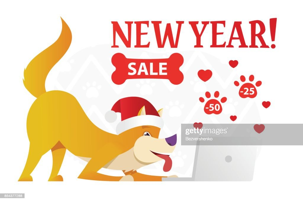 Happy New Year Postcard Template With The Cute Yellow Dog Ordering ...