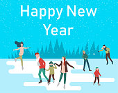 Happy New Year poster with people skating on the ice rink.