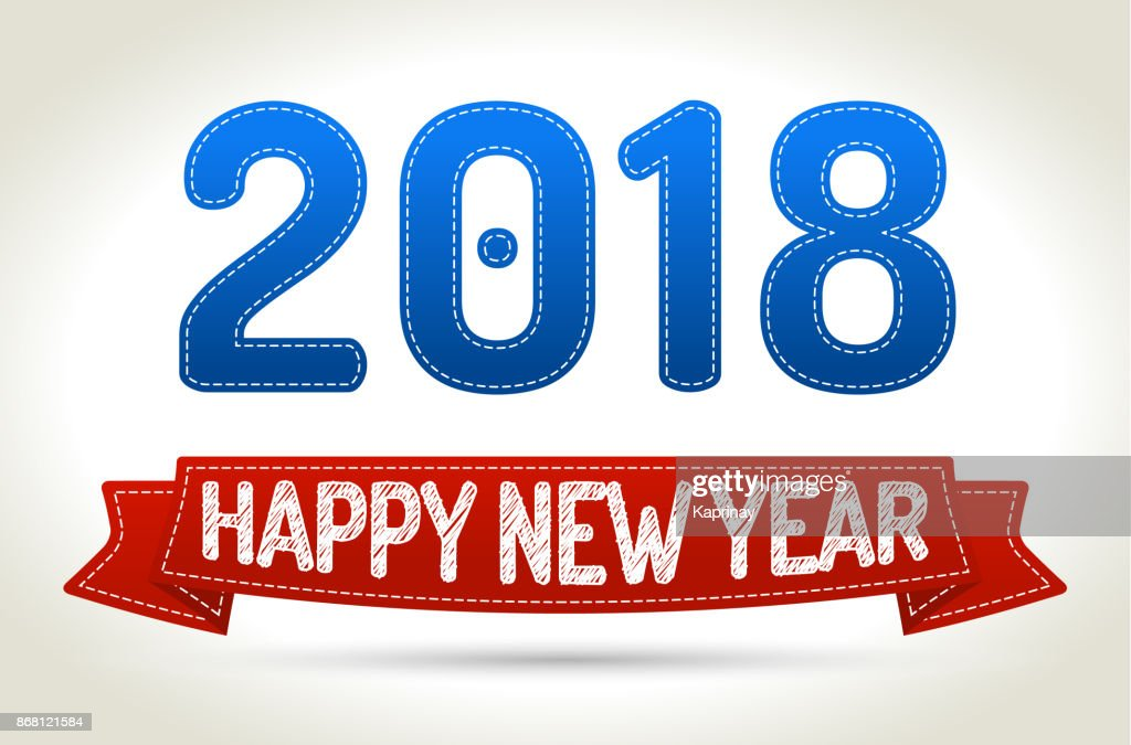 2018 - Happy new year- Red ribbon with shadow on light background.