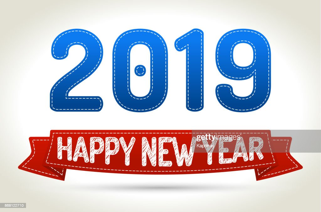 2019 - Happy new year- Red ribbon with shadow on light background.