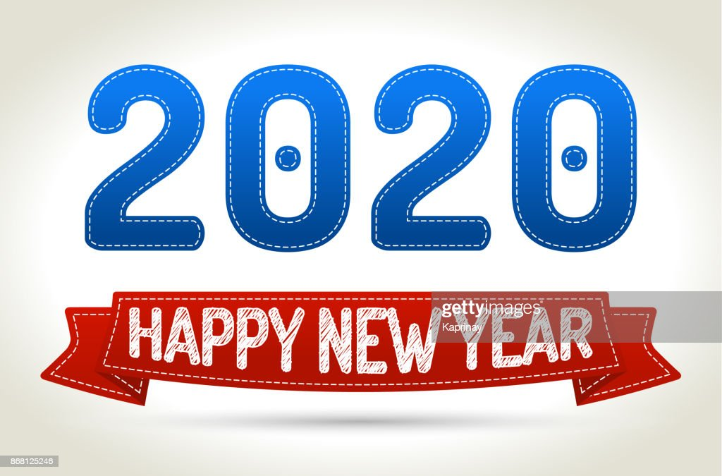 2020 - Happy new year- Red ribbon with shadow on light background.