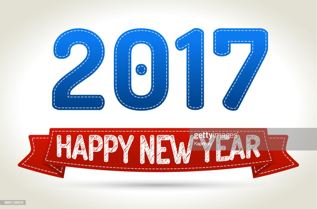 2017 - Happy new year- Red ribbon with shadow on light background.