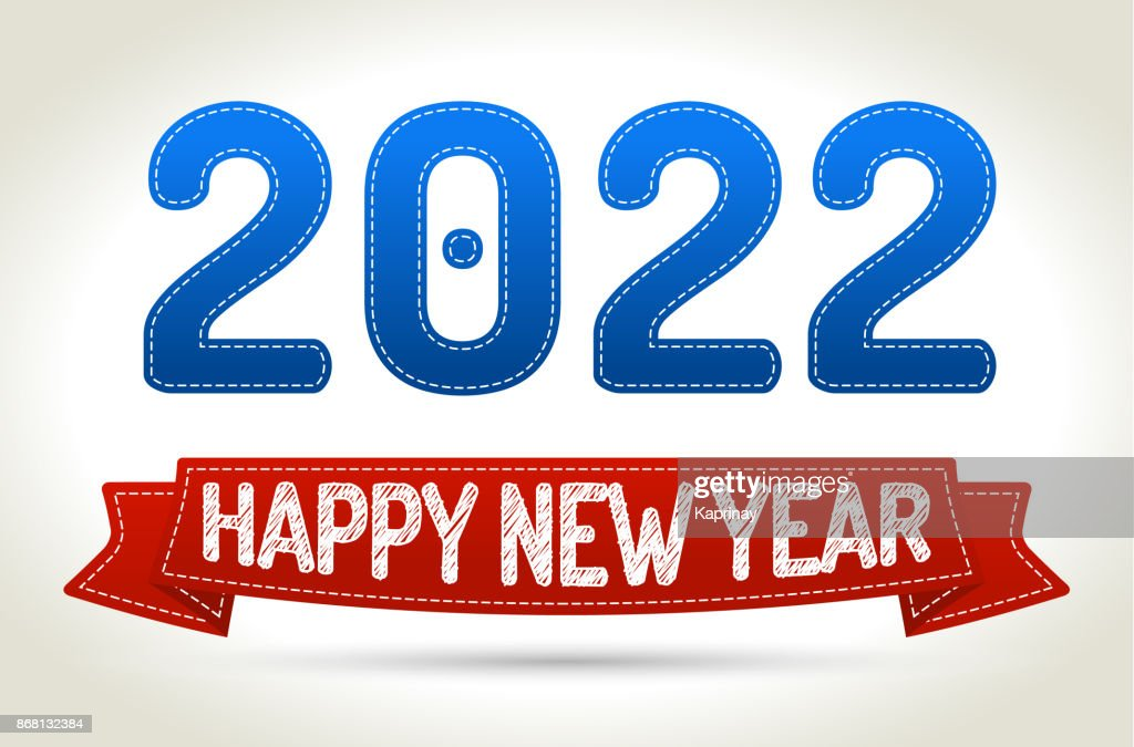 2022 - Happy new year- Red ribbon with shadow on light background.