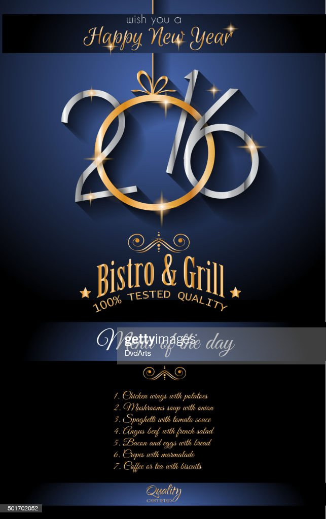 2016 happy new year restaurant menu page background vector art