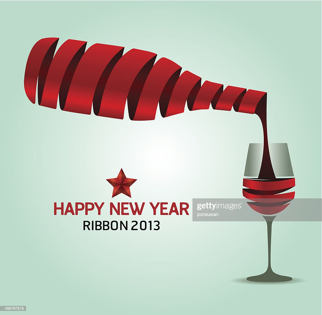 happy new year ribbon wine bottle shapevector illustration concept vector art