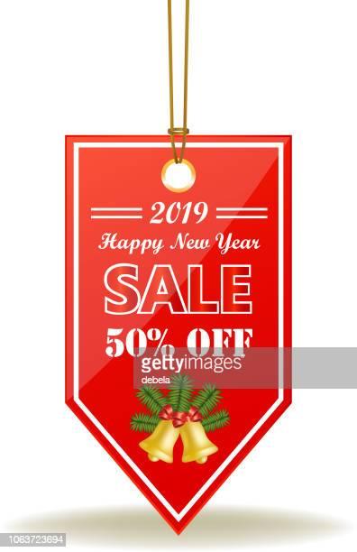 新年あけましておめでとうございますセール 50% 赤値札ロープの上 - 数字の50点のイラスト素材/クリップアート素材/マンガ素材/アイコン素材
