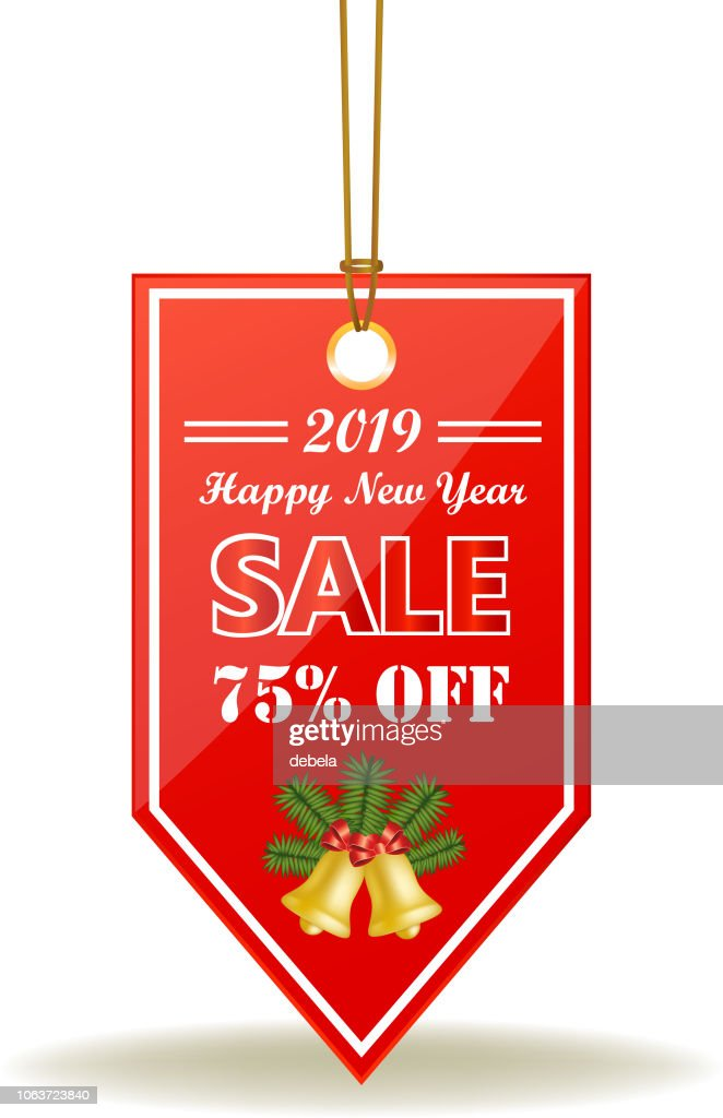 Happy New Year Sale Seventy Five Percent Red Price Tag On A Rope : stock illustration
