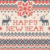 Happy New Year: Scandinavian or russian style knitted embroidery