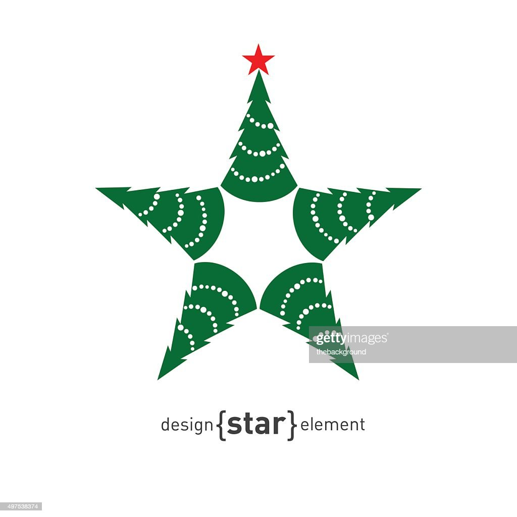 Happy New Year star with green pine, vector