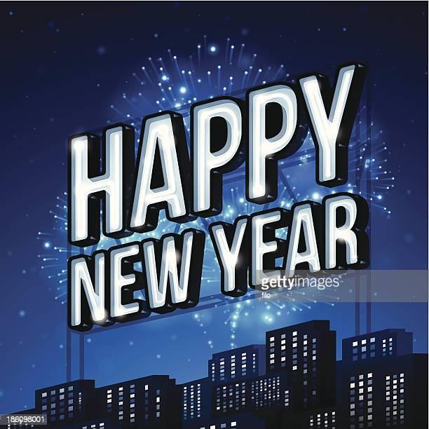happy new year! - city life stock illustrations