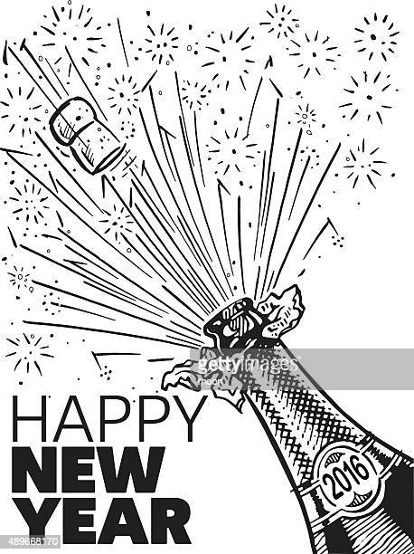 happy new year - champagne cork stock illustrations, clip art, cartoons, & icons