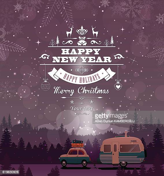 happy new year - christmas travel stock illustrations, clip art, cartoons, & icons