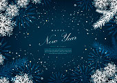 Happy new year winter blue snow background template vector