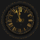 2019 Happy New Year with a gold clock