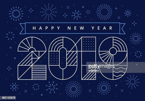 ilustrações, clipart, desenhos animados e ícones de 2019 feliz ano novo com fogos de artifício e desejos - 2019