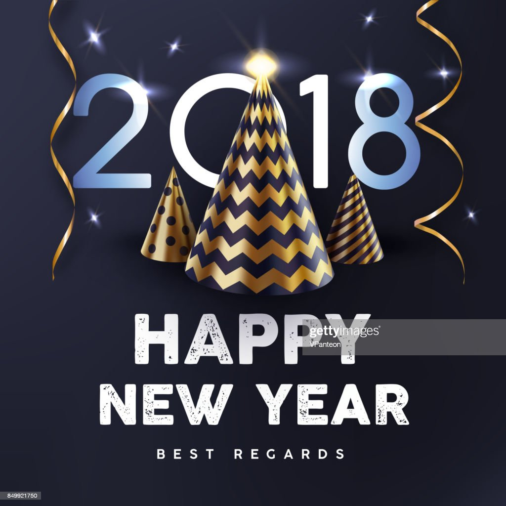 2018 Happy New Year with gold abstract Christmas tree and streamers vector poster.