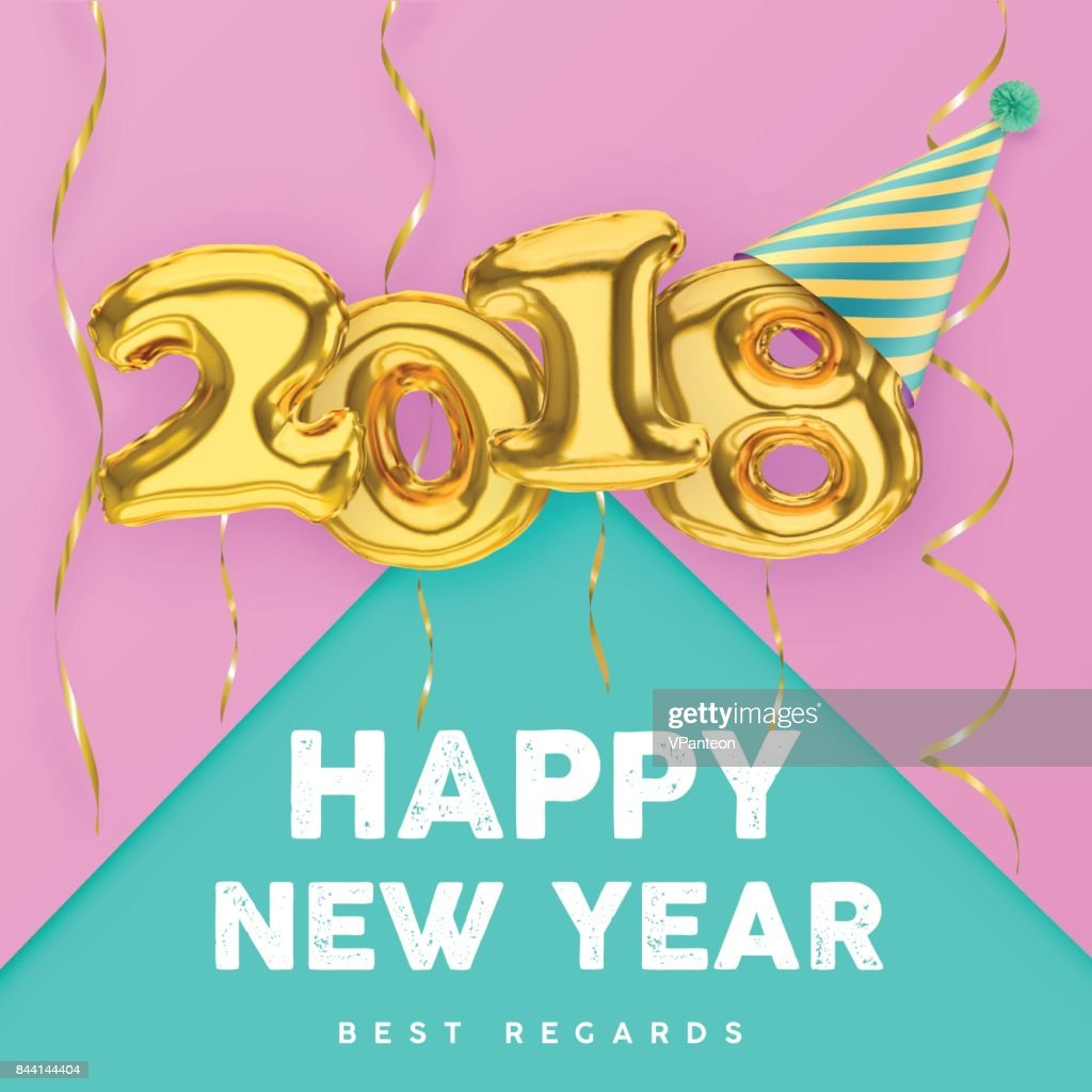 2018 Happy New Year with gold balloon numbers isolated on pink-green background