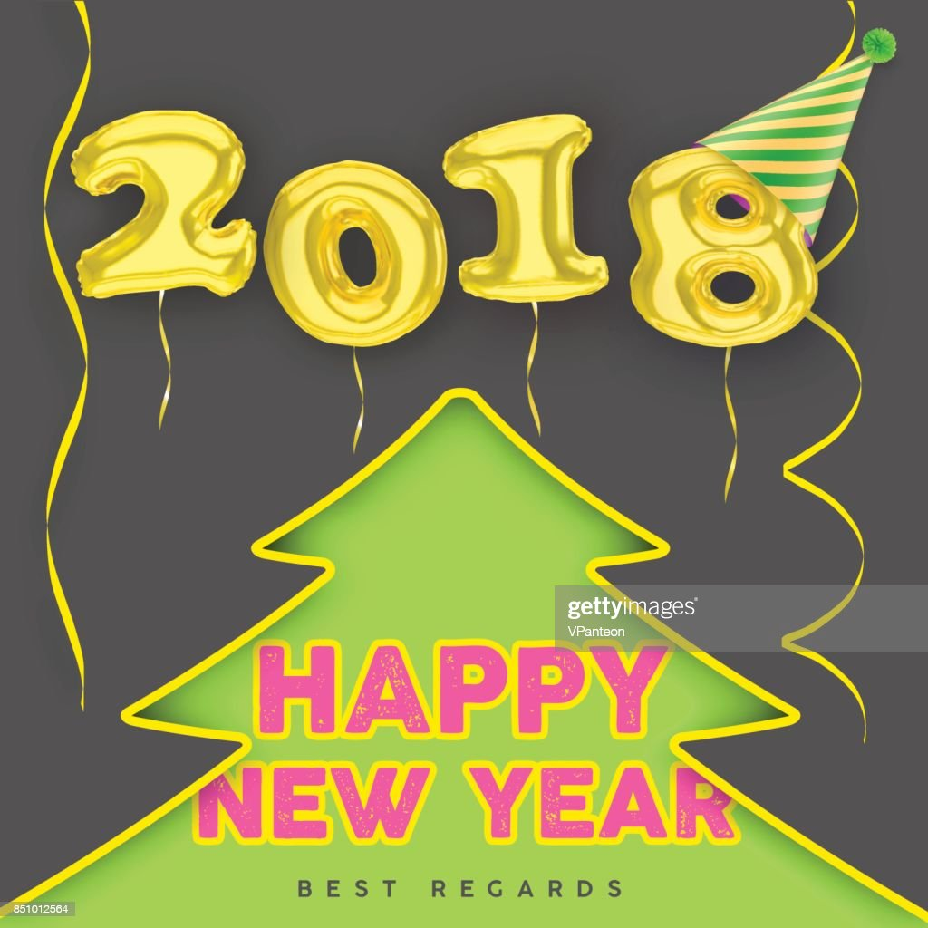2018 Happy New Year with gold balloon numbers with fir tree silhouette background