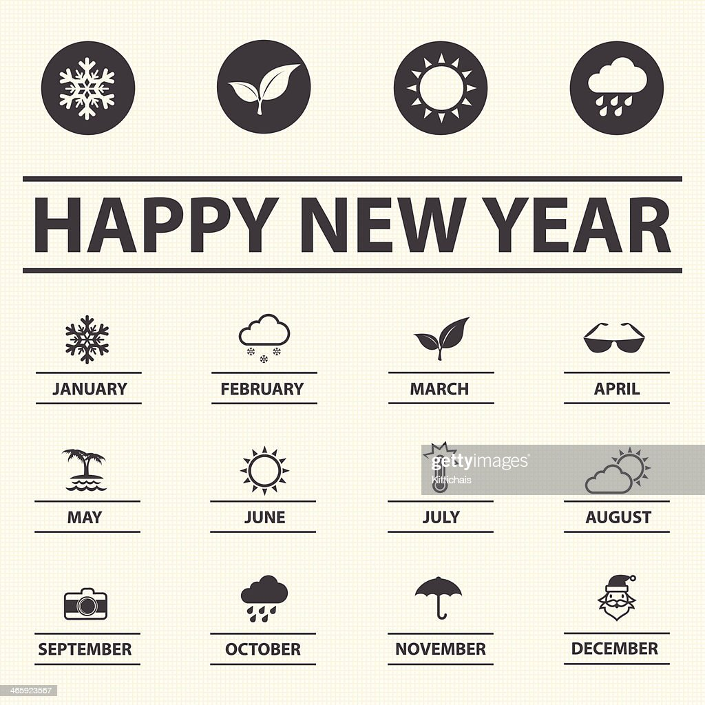 Happy new year with weather icons for Calendar.