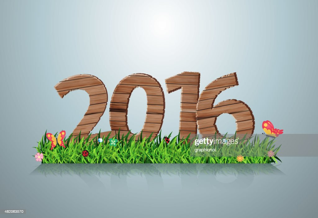 2016 happy new year wooden sign on green grass