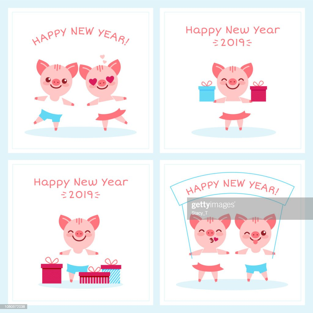 2019 Happy New Year zodiac pig sign character set,cartoon boy girl piglets characters,greeting card banner concept.Smiling adorable charming mascots with gift boxes,wish banner,kisses postcard