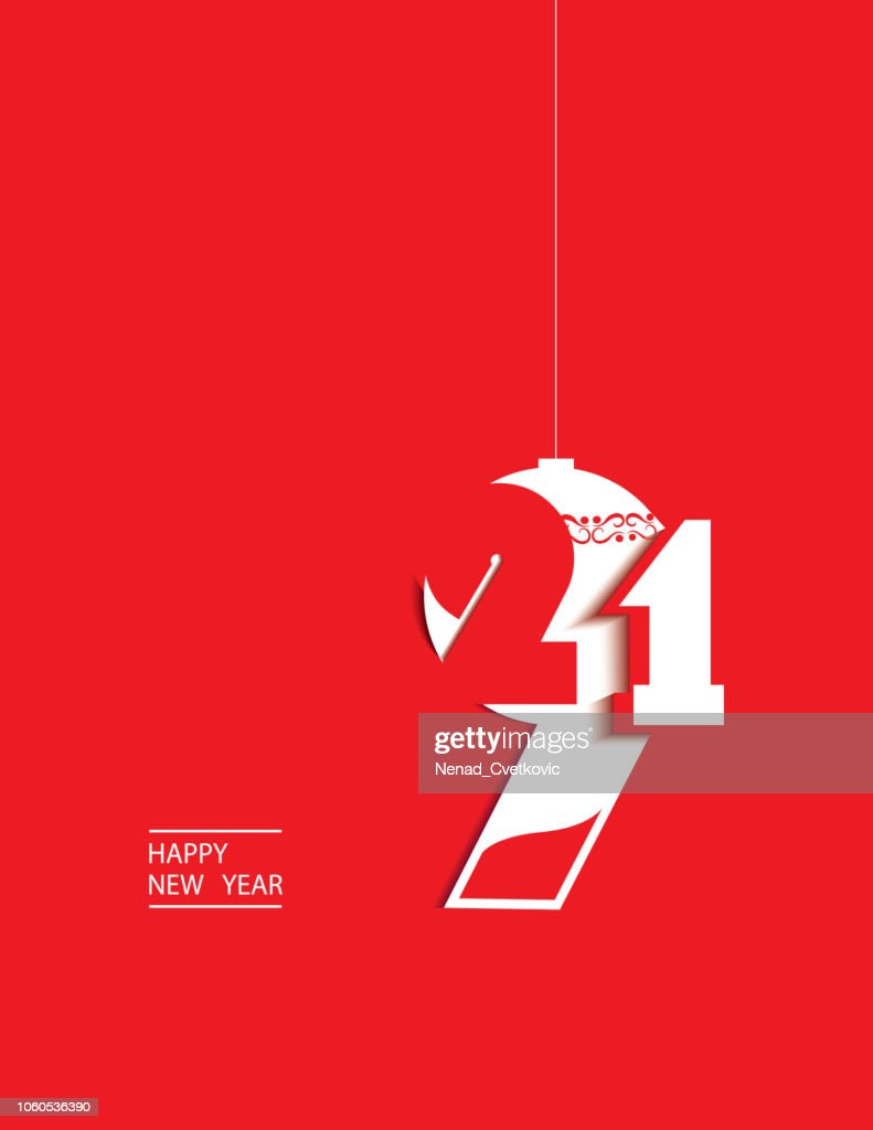 Happy New Year,cutout stylized red and white 2019 year