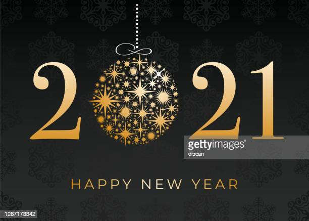 happy new year's 2021 black background. winter holiday greeting card design template. - 2021 stock illustrations