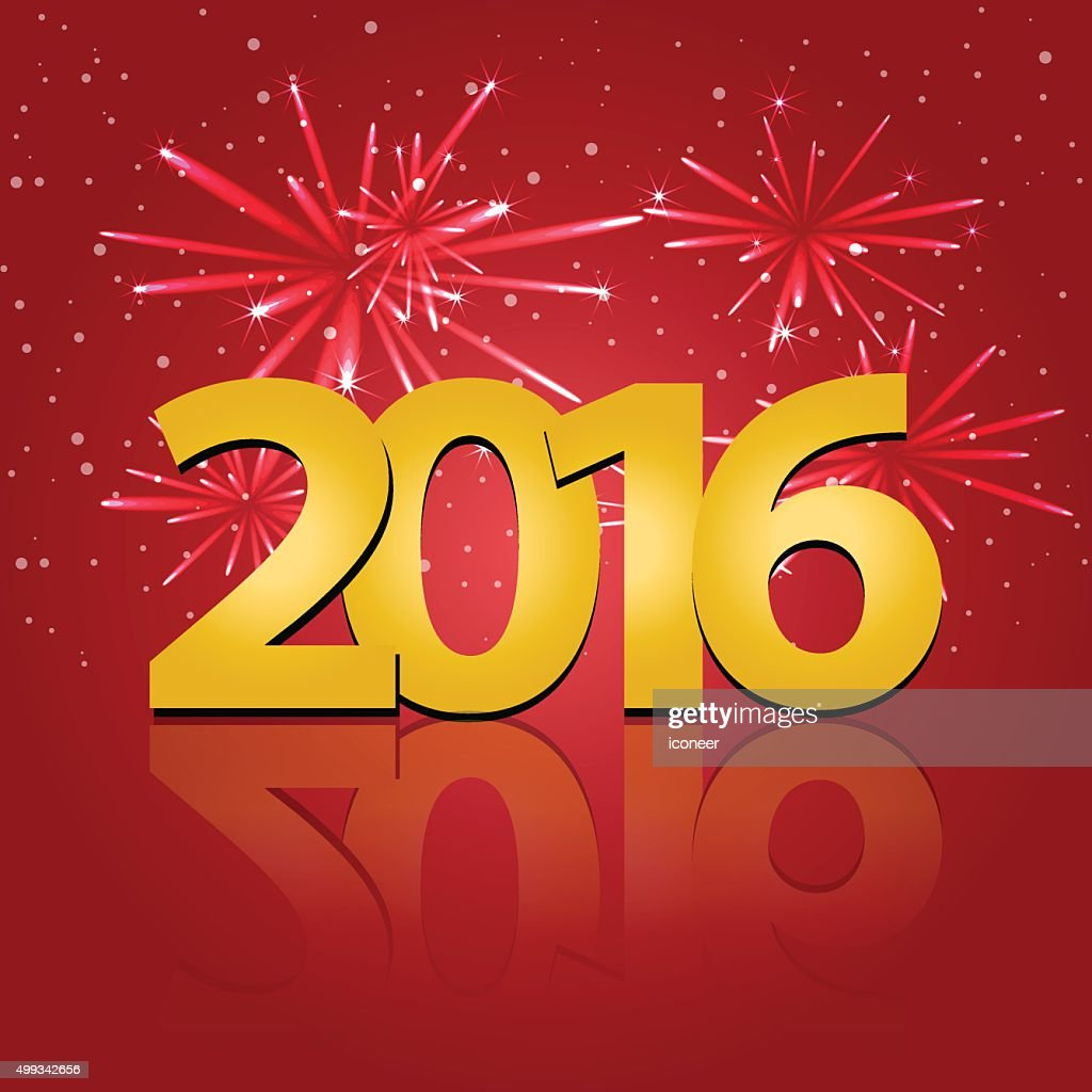 happy new years eve 2016 on red background with firekworks vector art
