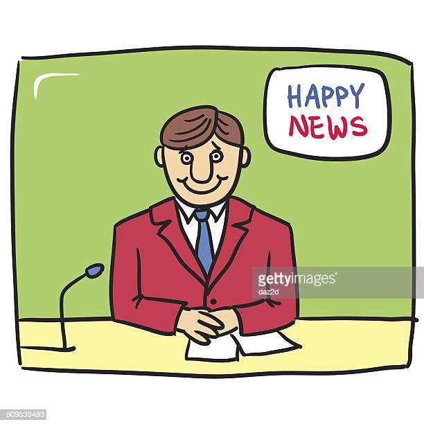 happy news - tv reporter stock illustrations, clip art, cartoons, & icons