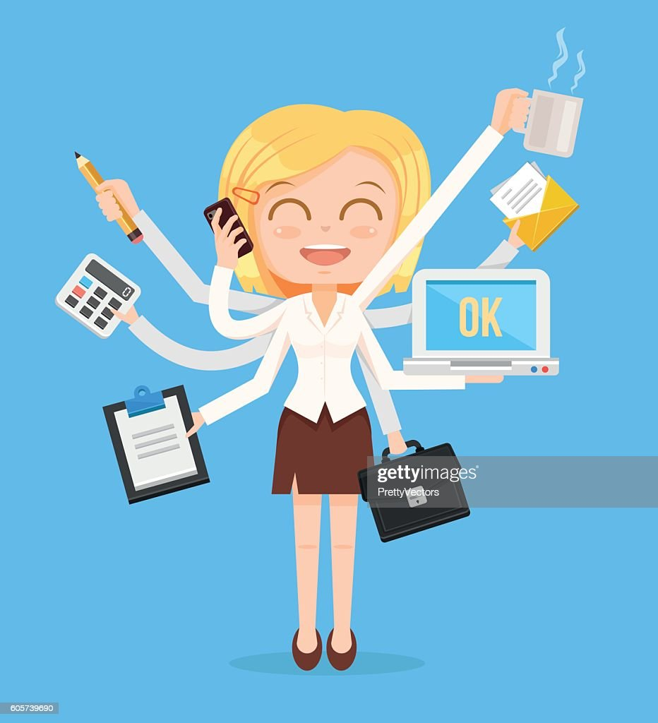 Happy office woman character