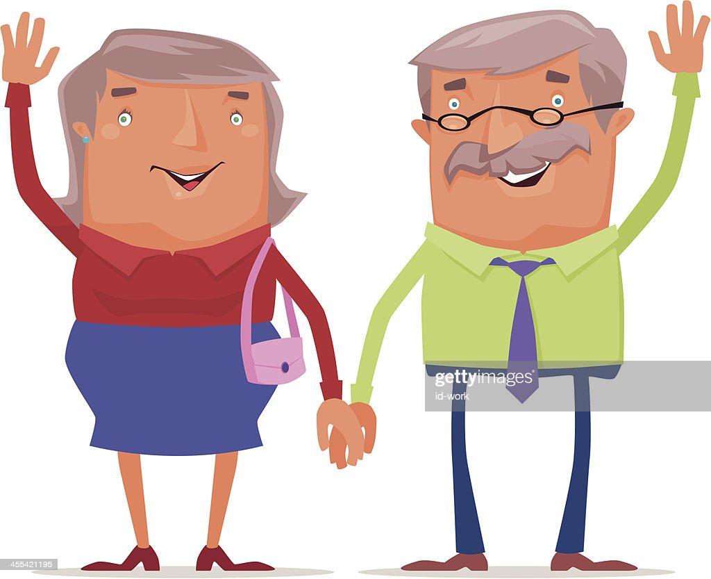 happy old couple : stock illustration